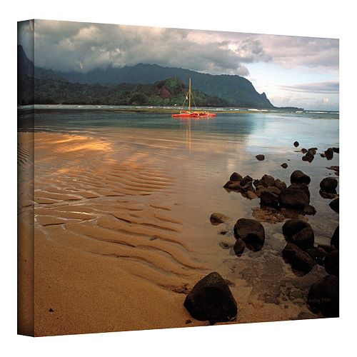 24'' x 36'' ''Hanalei Bay at Dawn'' Canvas Wall Art by Kathy Yates