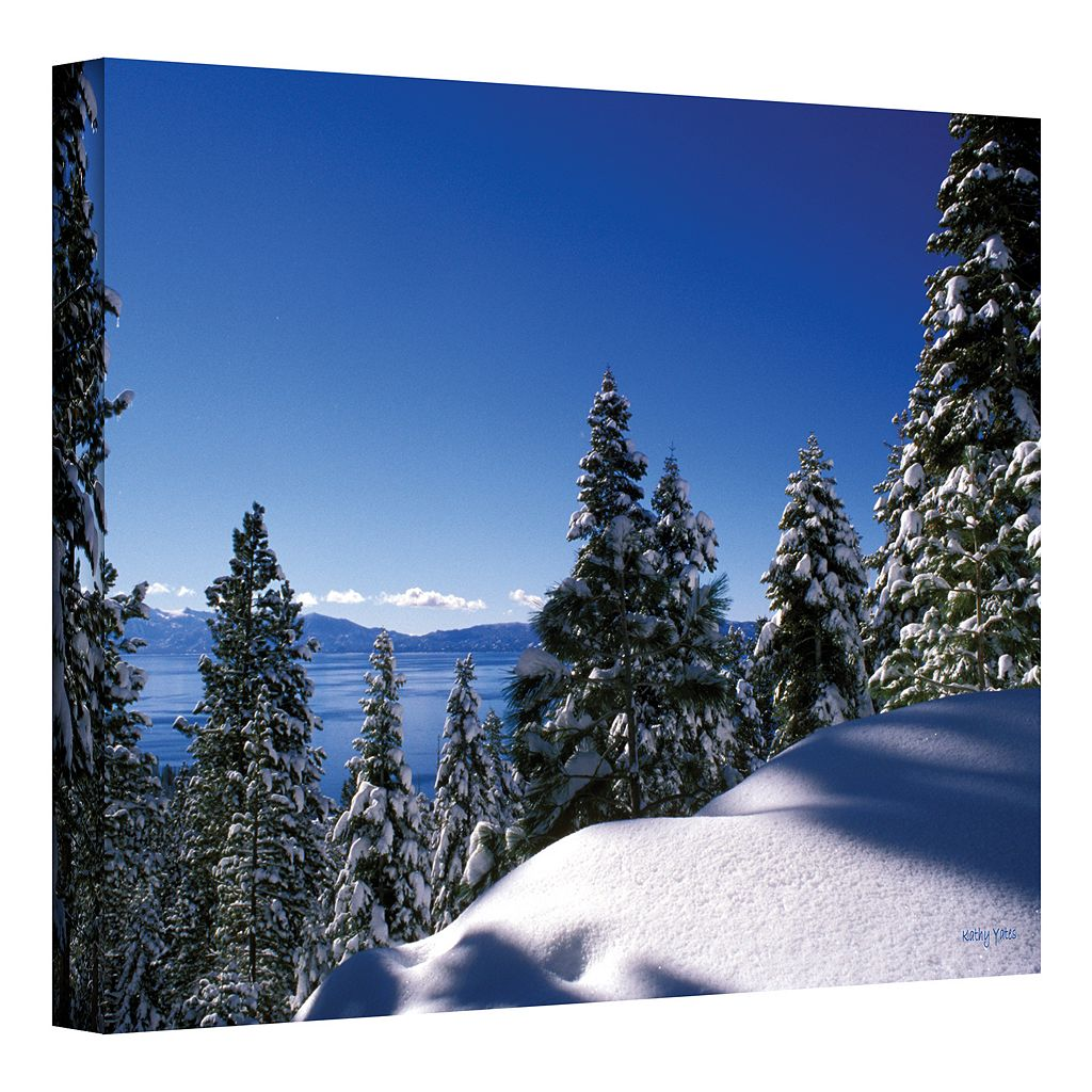 24'' x 36'' ''Lake Tahoe in Winter'' Canvas Wall Art by Kathy Yates