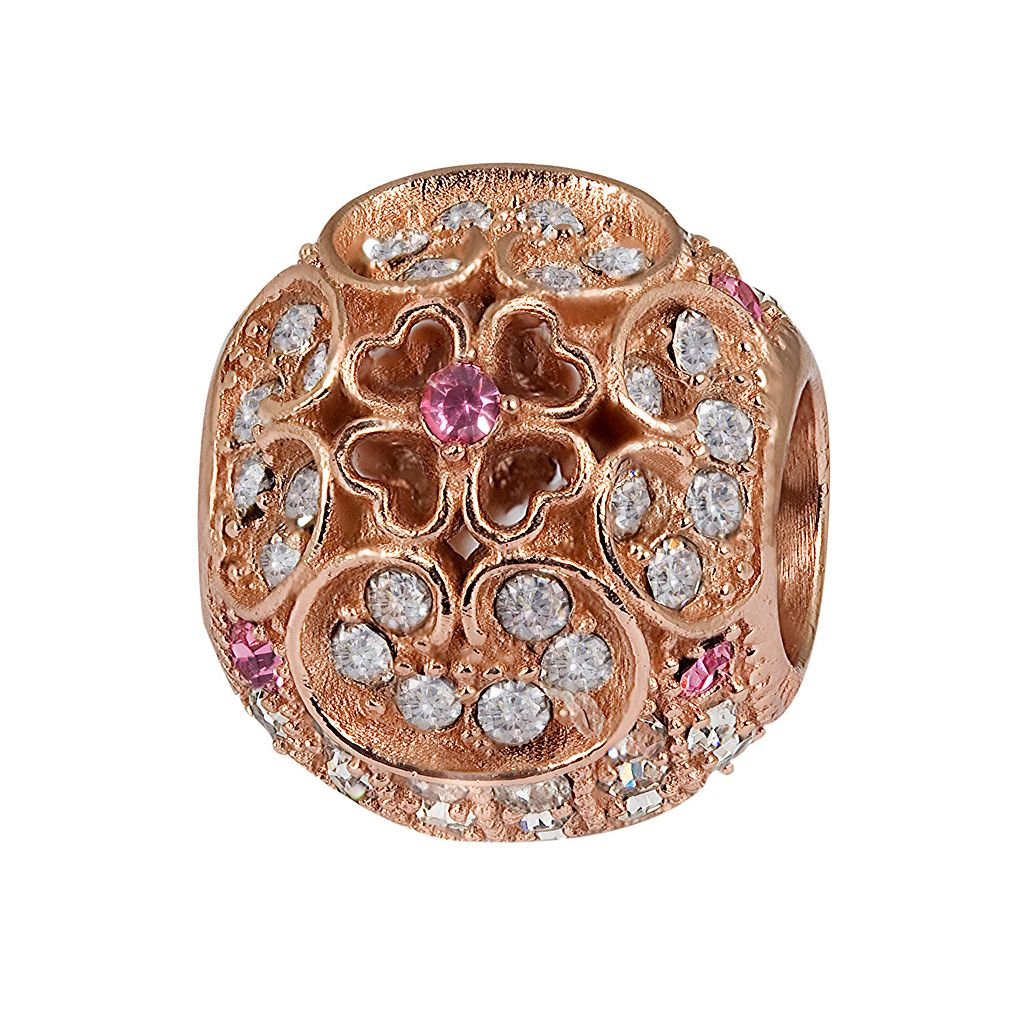 Individuality Beads 14k Rose Gold Over Silver Crystal Clover Spacer Bead