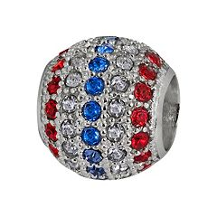 Individuality Beads Sterling Silver Crystal Patriotic Spacer Bead