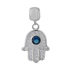 Individuality Beads Sterling Silver Cubic Zirconia Hamsa Charm