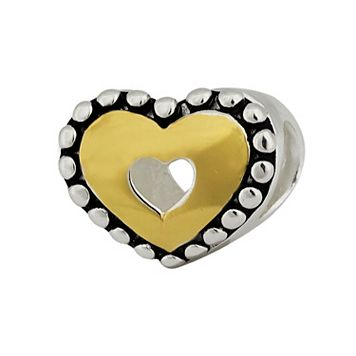 Individuality Beads 14k Gold Over Silver & Sterling Silver Heart Bead
