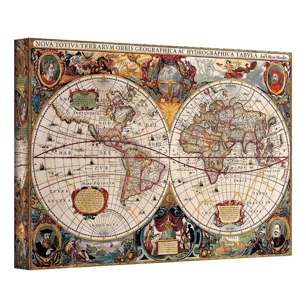 12'' x 18'' ''Hydrographica Map'' Antique Canvas Wall Art