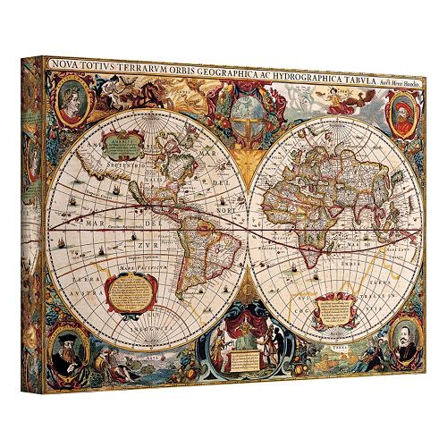 24'' x 36'' ''Hydrographica Map'' Antique Canvas Wall Art