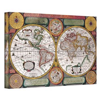 16'' x 24'' ''Description De La Terre Antique Map'' Canvas Wall Art