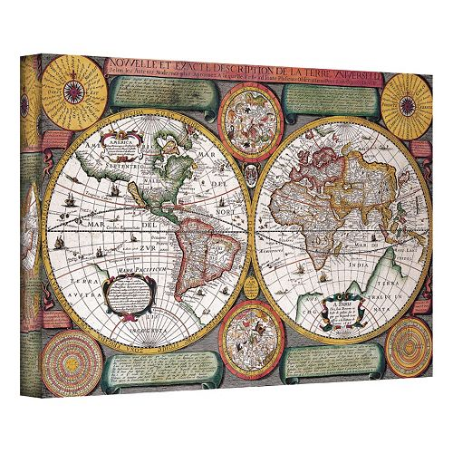 16'' x 24'' ''Description De La Terre Antique Map'' Canvas Wall Art
