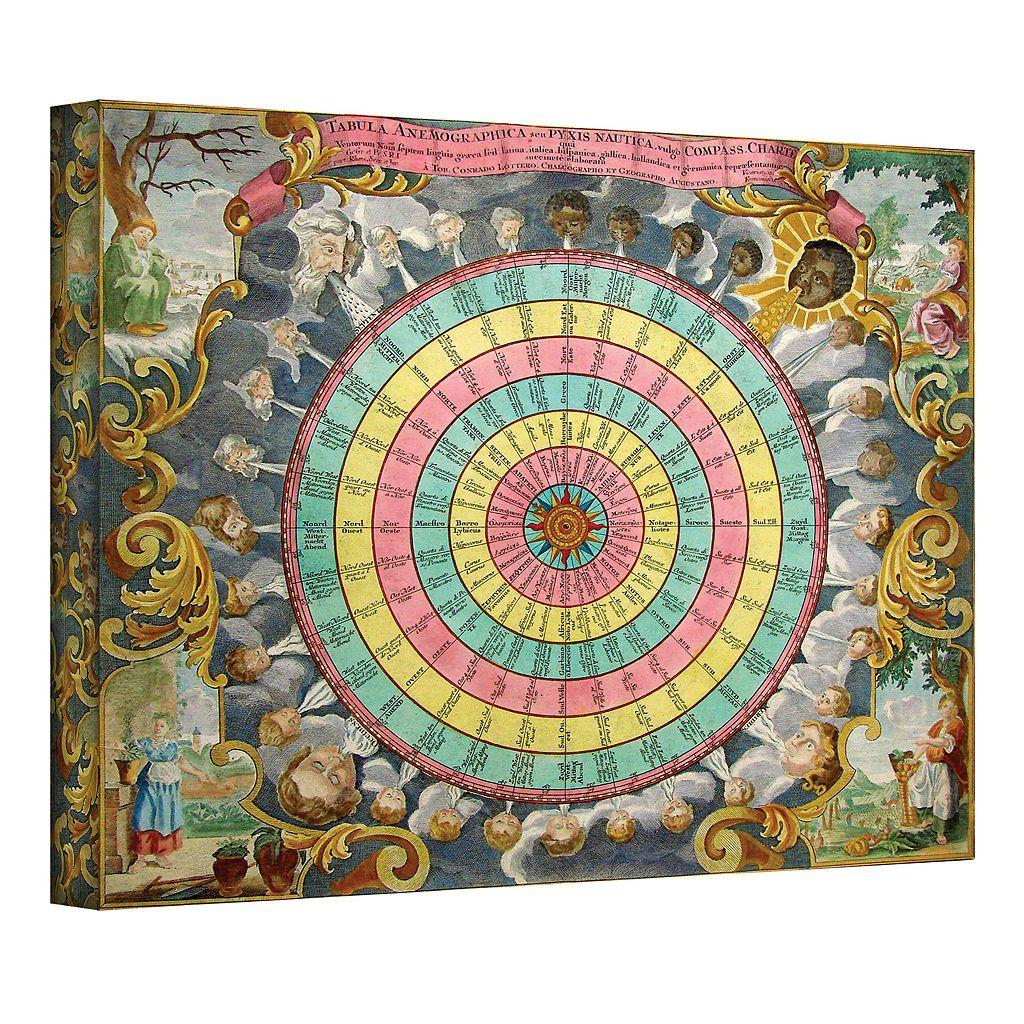 30'' x 36'' ''Pyxis Nautica Compass Charte'' Canvas Wall Art