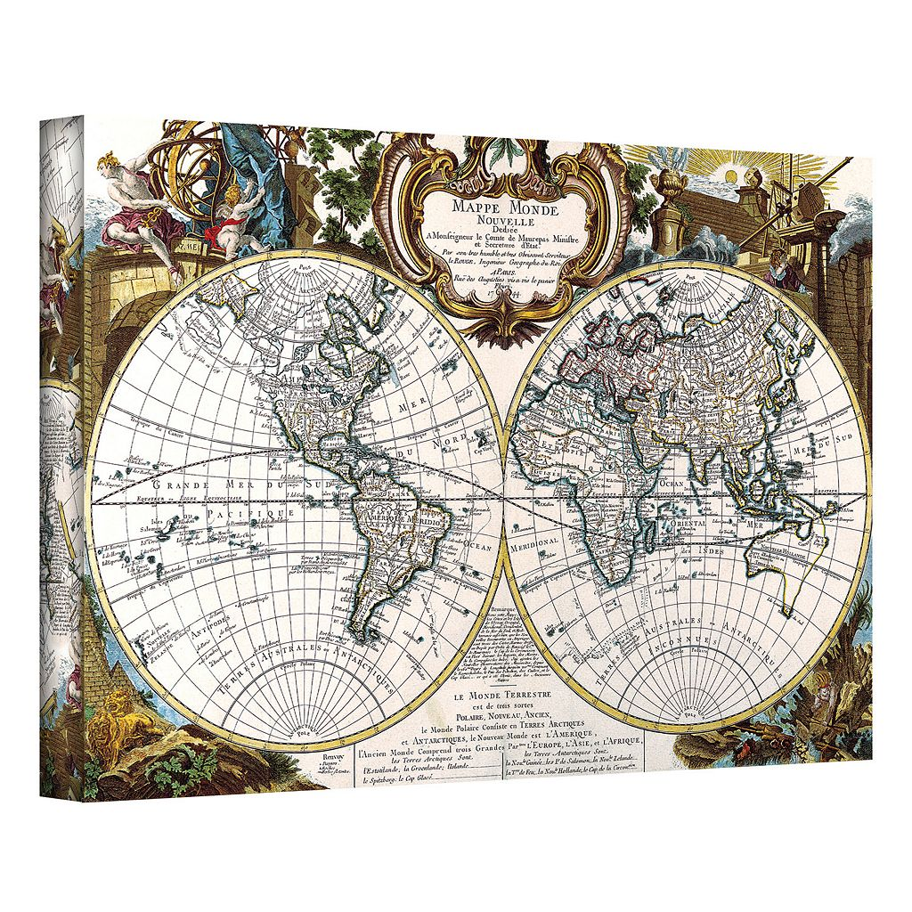 12'' x 18'' ''Antique World Map Circa 1499'' Canvas Wall Art