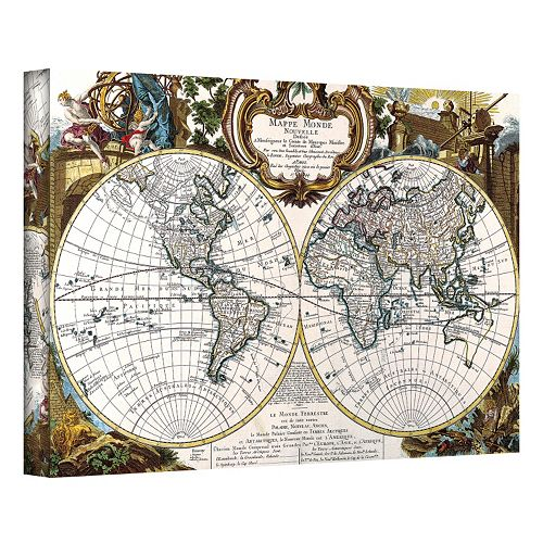 12'' x 18'' ''Antique World Map Circa 1499'' Canvas Wall Art