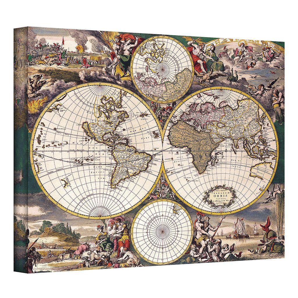 14'' x 18'' ''Terrarum Orbis Antique Map'' Canvas Wall Art
