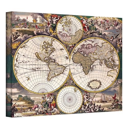 32'' x 40'' ''Terrarum Orbis Antique Map'' Canvas Wall Art
