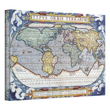 12'' x 18'' ''Typvs Orbis Terrarvm Antique Map'' Canvas Wall Art