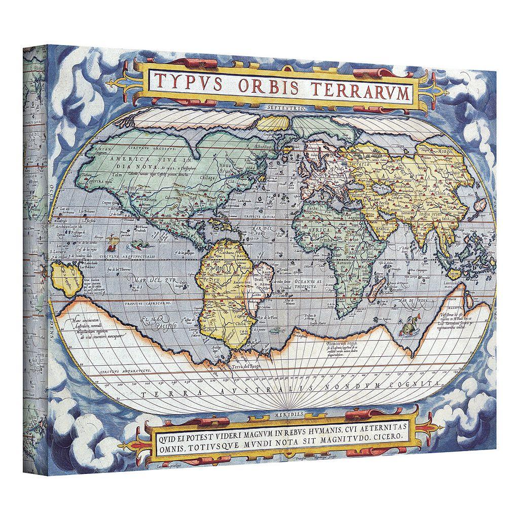 32'' x 48'' ''Typvs Orbis Terrarvm Antique Map'' Canvas Wall Art