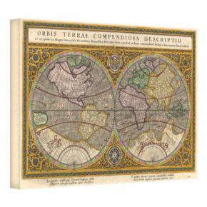 12'' x 18'' ''Orbis Terrae Compendiosa Descriptio Antique Map'' Canvas Wall Art