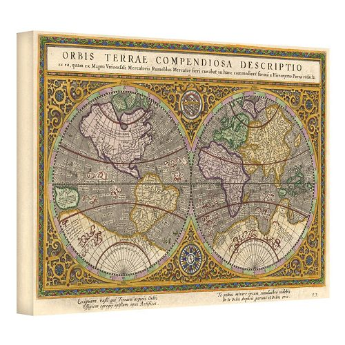 16'' x 24'' ''Orbis Terrae Compendiosa Descriptio Antique Map'' Canvas Wall Art