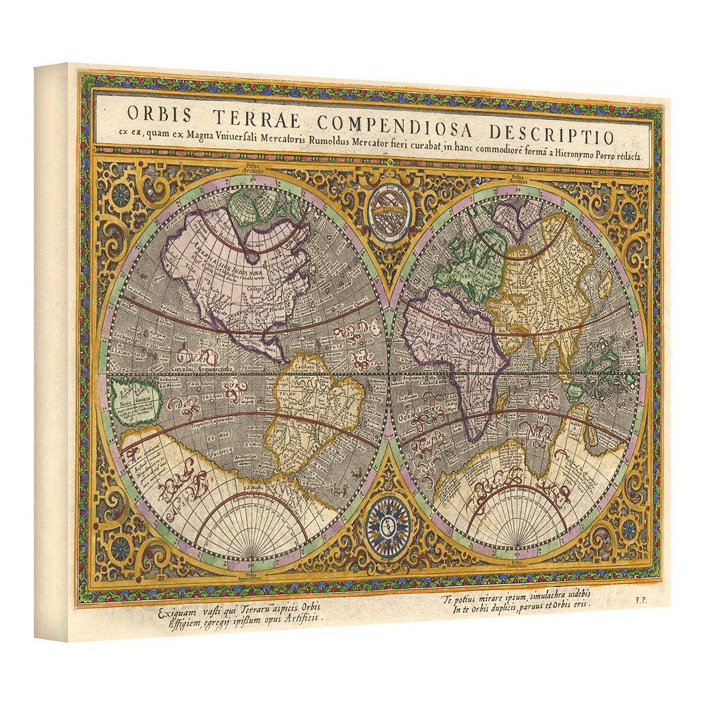 24'' x 36'' ''Orbis Terrae Compendiosa Descriptio Antique Map'' Canvas Wall Art