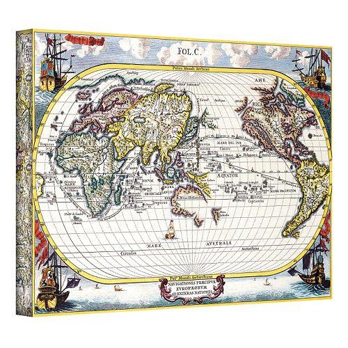 16'' x 24'' ''Navigationes Praecivae Evropaeorvm Antique Map'' Canvas Wall Art