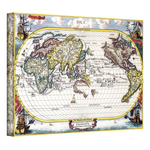 24'' x 36'' ''Navigationes Praecivae Evropaeorvm Antique Map'' Canvas Wall Art