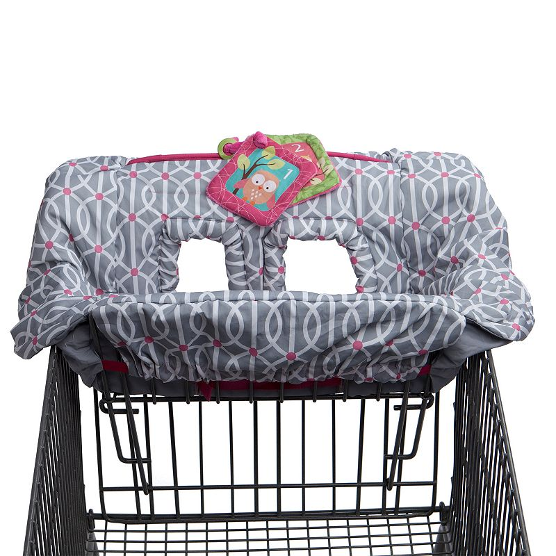 Boppy Shopping Cart Cover, Grey Keep baby safe from germs with this Boppy shopping cart cover. : SideLine system keeps toys off the ground Included plush crinkle toy Integrated safety strap Can also be used in restaurant high chairs : Polyester Machine wash Size: One Size. Color: Grey. Gender: Unisex. Age Group: Infant.