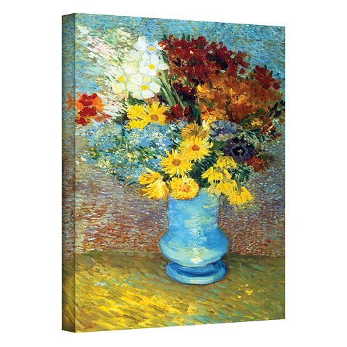 """24'' x 18'' """"Flowers in Blue Vase"""" Canvas Wall Art by Vincent van Gogh"""