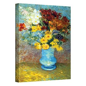 """48'' x 36'' """"Flowers in Blue Vase"""" Canvas Wall Art by Vincent van Gogh"""