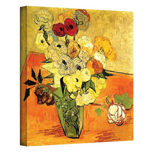 32'' x 24'' ''Japanese Vase with Roses and Anemones'' Canvas Wall Art by Vincent van Gogh