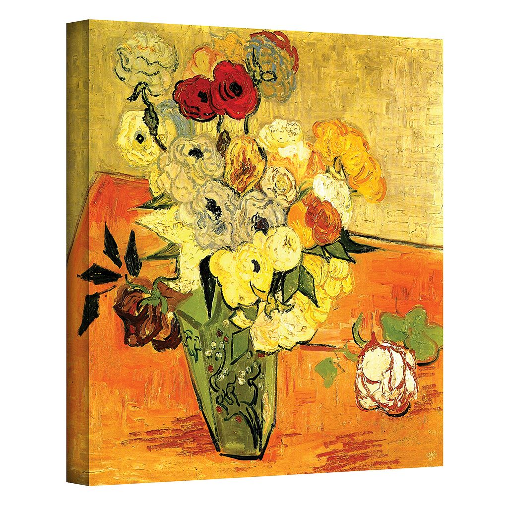 48'' x 36'' ''Japanese Vase with Roses and Anemones'' Canvas Wall Art by Vincent van Gogh