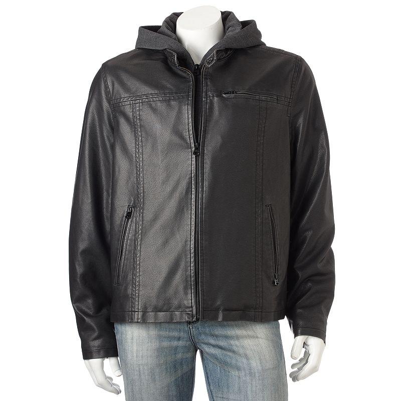 Levi's Faux-Leather Hooded Racer Jacket - Men