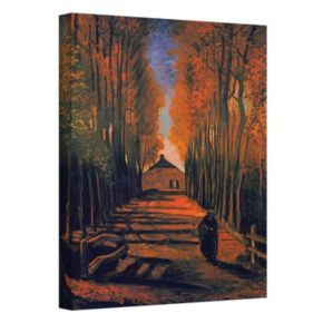 "48'' x 36'' ''Avenue of Poplars in Autumn"" Canvas Wall Art by Vincent van Gogh"