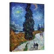 "18'' x 14'' ""Country Road in Provence by Night"" Canvas Wall Art by Vincent van Gogh"