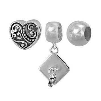 Individuality Beads Sterling Silver Heart & Graduation Bead & Charm Set