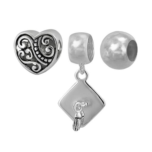 Individuality Beads Sterling Silver Heart and Graduation Bead and Charm Set