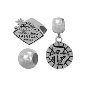 Individuality Beads Sterling Silver Las Vegas and Poker Chip Bead and Charm Set