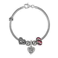 Individuality Beads Sterling Silver Snake Chain Bracelet & Crystal, Mom & Heart Bead & Charm Set