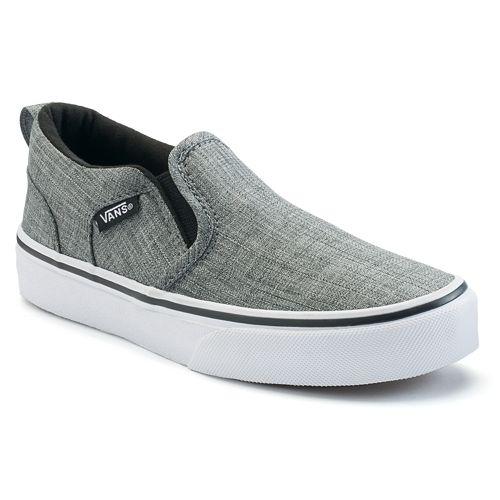 939567b4e98fbe Vans Asher Boys  Checker Slip On Skate Shoes