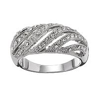 Silver Tone Simulated Crystal Openwork Swirl Dome Ring