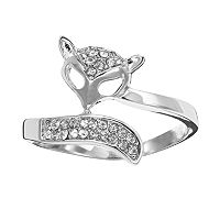 Silver Tone Simulated Crystal Openwork Fox Ring