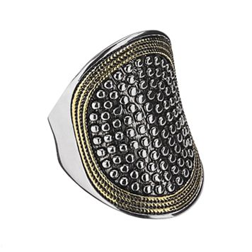Two Tone Beaded & Textured Oval Ring