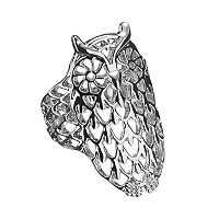 Silver Tone Openwork Owl Ring