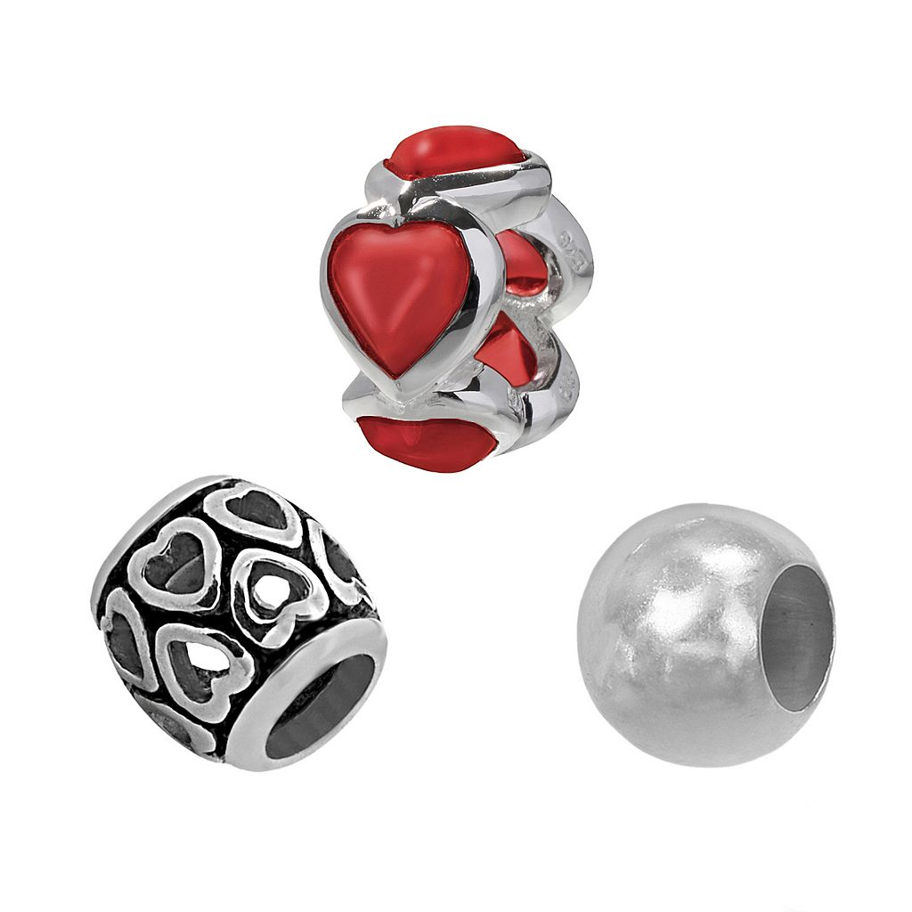 Individuality Beads Sterling Silver Glass Heart Bead Set