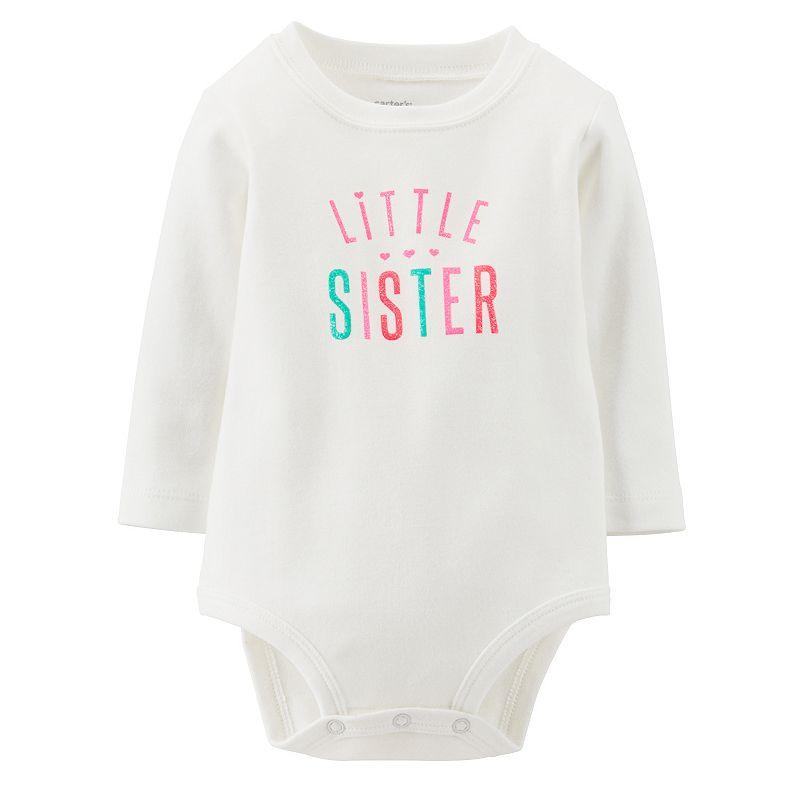 Carter's Glitter Little Sister Bodysuit - Baby (White)