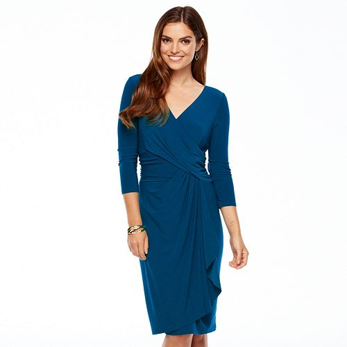 Plus Size Chaps Solid Crossover Dress