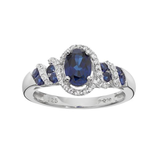 Lab-Created Blue & White Sapphire Sterling Silver Halo Ring