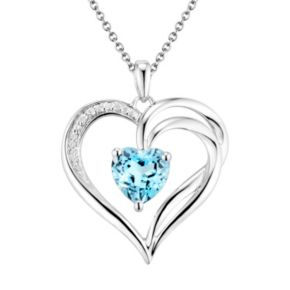 Two Hearts Forever One Sterling Silver Light Blue Topaz and Diamond Accent Heart Pendant