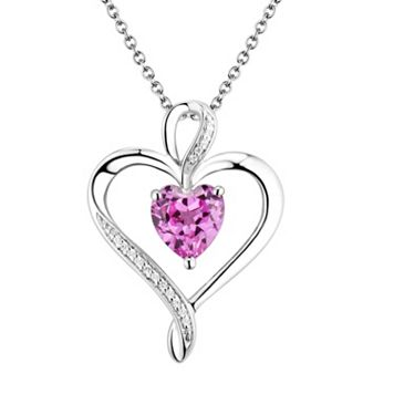 Two Hearts Forever One Sterling Silver Lab-Created Pink Sapphire & Diamond Accent Ribbon Heart Pendant