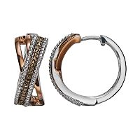 14k Rose & Brown Gold Over Silver & Sterling Silver Textured Crisscross Hoop Earrings