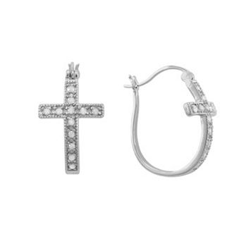 Sterling Silver 1/4-ct. T.W. Diamond Cross U-Hoop Earrings