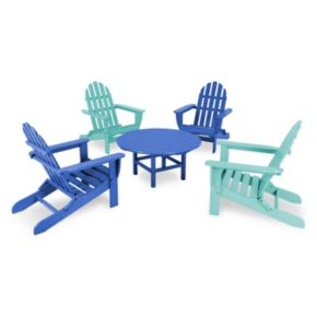 POLYWOOD® 5-pc. Classic Neon Folding Adirondack Chair & Table Set - Outdoor