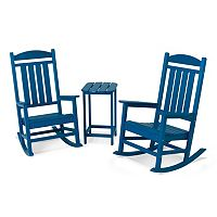 POLYWOOD® 3 pc Presidential Rocking Chair & Table Set - Outdoor