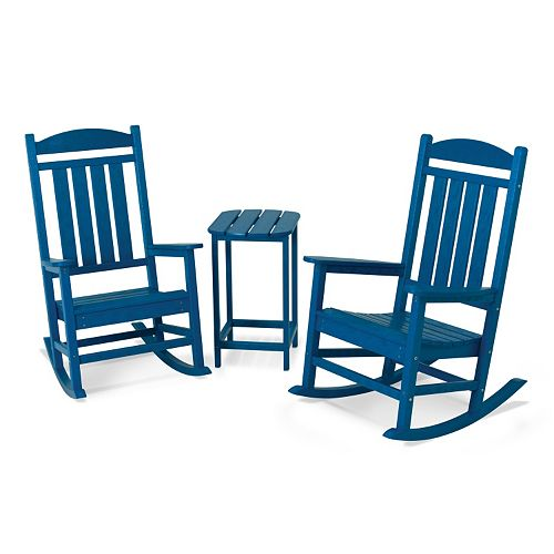 POLYWOOD® 3-piece Presidential Rocking Chair & Table Set - Outdoor